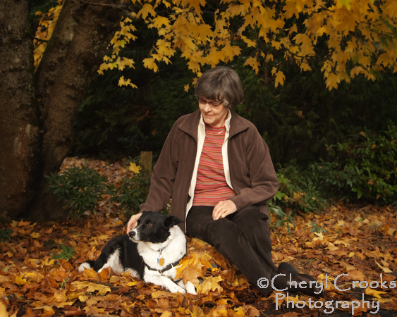 The autumn leaves made a great place for a portrait of Tuppie with her mistress, Anne.