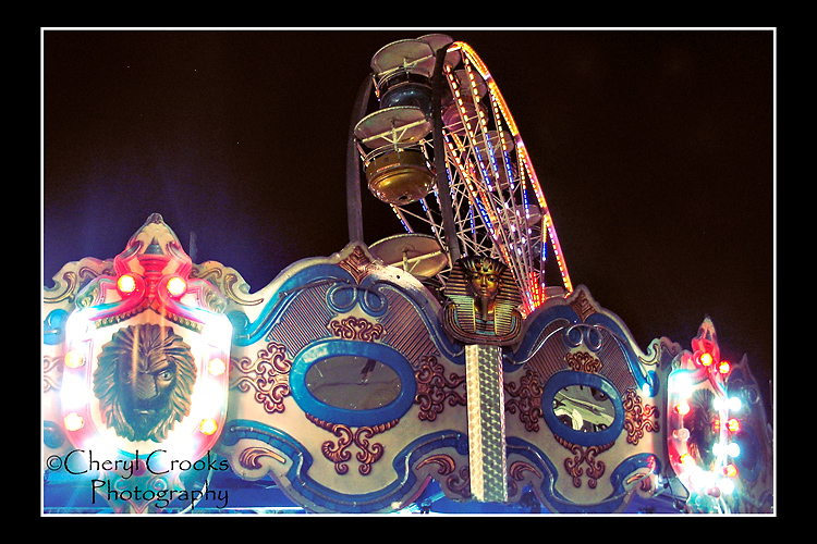 Nothing like the colored lights of the carousel and ferris wheel to bright an evening at the fair!