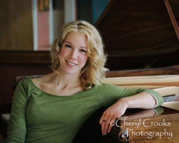 Courtney Fortune was photographed seated at the piano in her home as a high school senior.  She'snow  a jazz singer pursuing her career in Seattle in and Los Angeles.