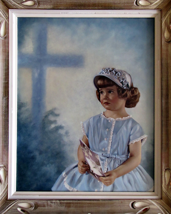 """This portrait of me was taken by my father one Easter and titled """"Easter Best"""".  It is a light oil and was selected for exhibit at the state's professional photography association's salon."""
