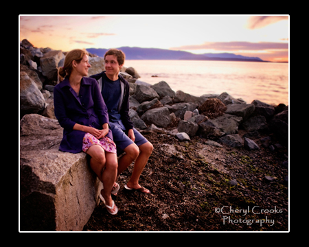 The stunning sunset was a perfect setting for my portrait of LaVera and her son, photographed after his senior portrait session.