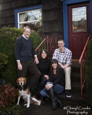 The McShane's dog, felt right at home for this family portrait.