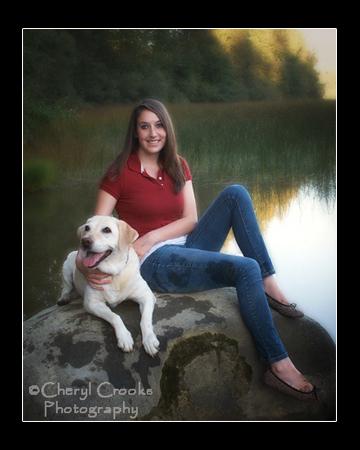 Samantha included her Golden Lab for her senior portrait set at the lake.