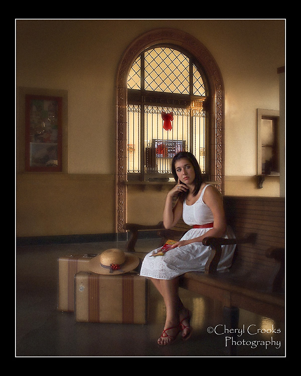 Sarah had just returned from spending a semester studying abroad in Europe and missed the trains that she took there to travel. When I suggested we stage her senior portrait in the old train station, she instantly loved the idea.