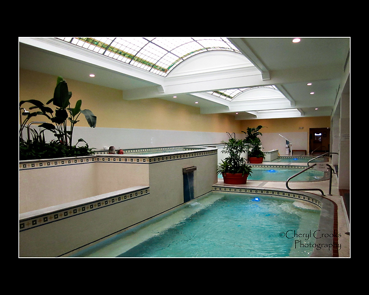 The four baths at the Quapaw Bathhouse lie beneath stained glass skylights.