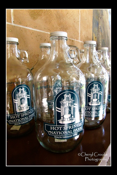 Bottles can be purchased at the Nationa Park's Visitor's Center and filled with the water from the mineral springs.