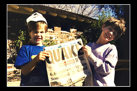 In 1994, a major earthquake rocked Los Angeles.  My sons, shown here with the next day's newspaper headline, helped me load our family albums into the car.