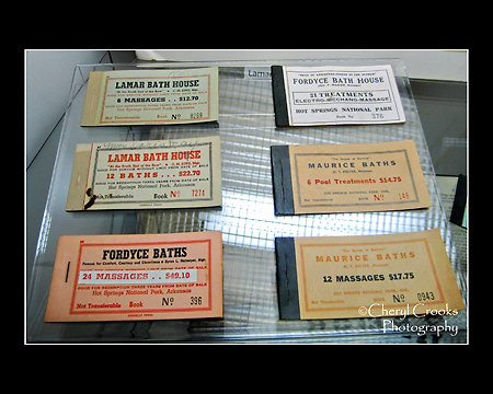 A display of old massage tickets are on exhibit at the National Park's Visitor Center.