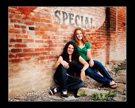 Megan and Joy grew up together as best friends so when the time for their senior portrait, they wanted to be photographed together. We all had great fun during the photo session and the Morgan Block wall conveyed the message perfectly!