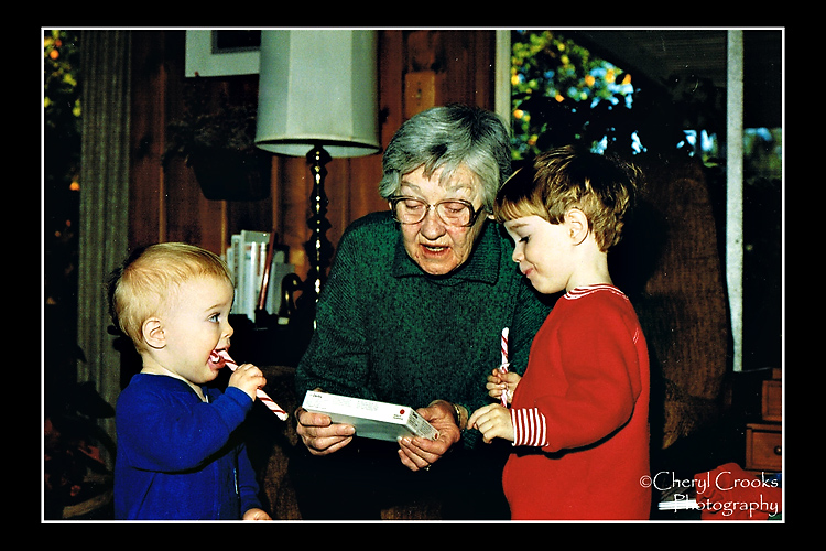 Photos of my sons when they were small at Christmas are among my most precious photos.  Shown here with their Grandmother, I can only imagine the sticky hands they had after gtnawing on those candy canes.
