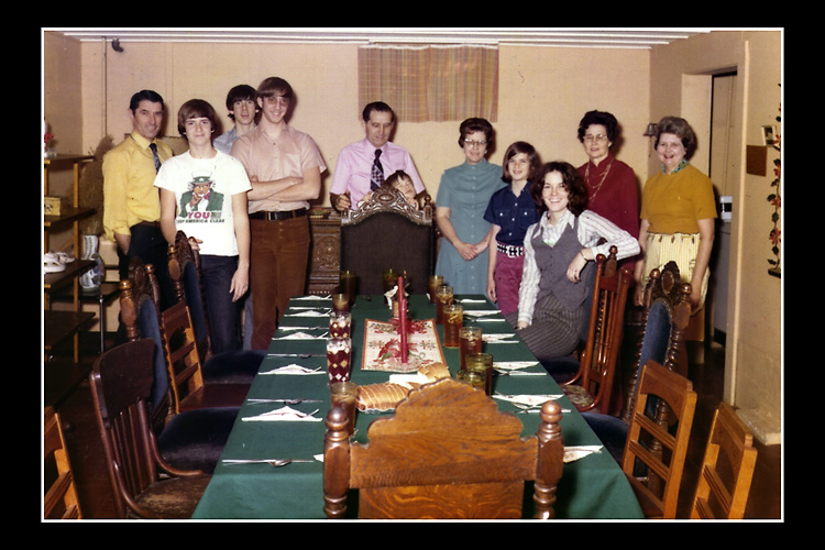 My family gathered at the long table in my aunt and uncle's basement to have our Christmas dinner together.