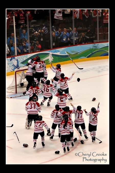 The entire arena erupted along with the skaters on the ice when the Canadian women's hockey team took the Gold Medal against the Americans during the 2010 Vancouver Olympics.
