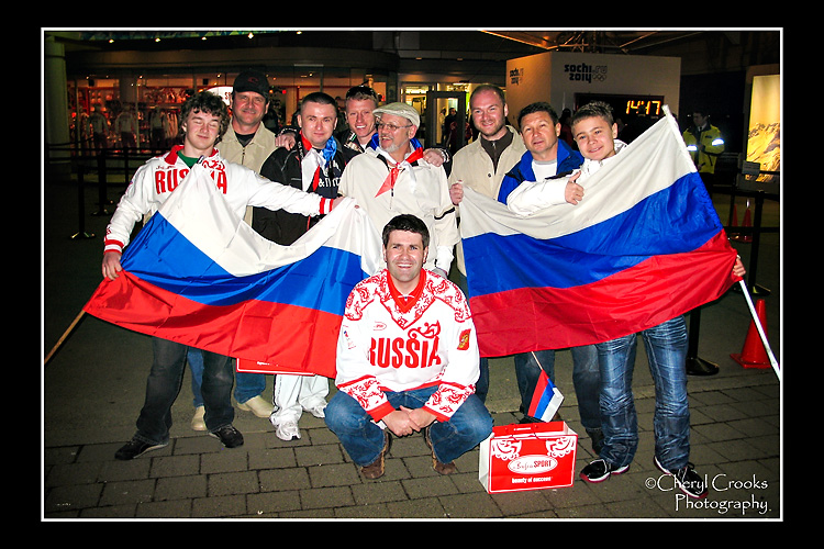 An enthusiastic group of Russian fans at the 2010 Olympics were ready to host the 2014 Games in Sochi.