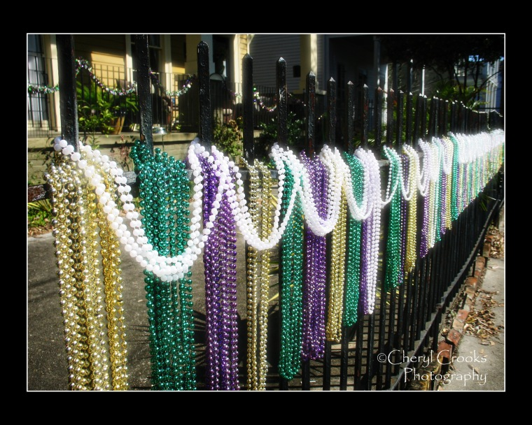 Throughout the ciity's French Quarter and Garden Districts, beads in Mardi Gras colors contrast against the balck wrought iron fences.