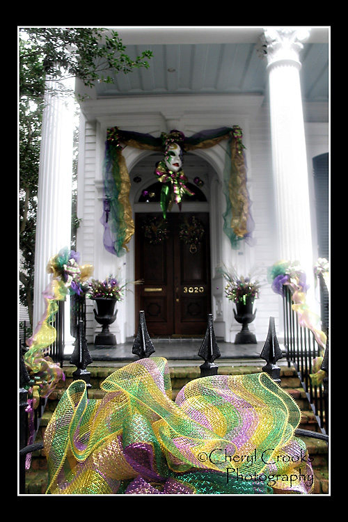 Homes in New Orleans, like this one, are decked out for the Mardi Gras holiday.