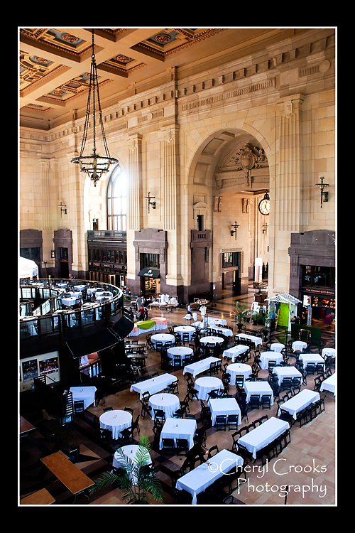 Union Station's Grand Lobby still bustles with activity as it is a popular choice for weddings, business meetings or other special occasions, such as Easter brunch,  for which the tables shown here were being set.