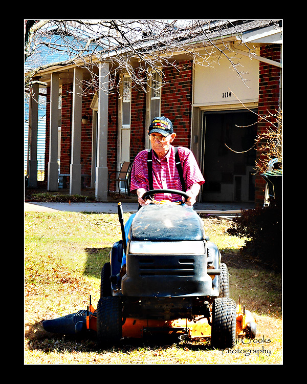 Sometimes your fondest memories of your Dad are of the everyday jobs.  This photo of my father, taken just this past March, was one of the last I made of him at his home.  He loved to ride his lawn mower and spent nearly an hour on it that day. I'm so very glad now that I stopped to catch him in this photo.