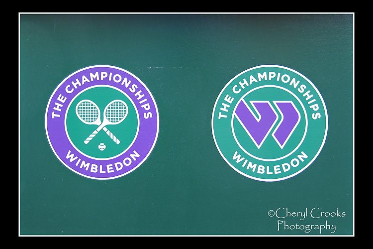 he club's green and purple colors can be found everywhere in Wimbledon during the tournament including, of course, the tennis club's logos.