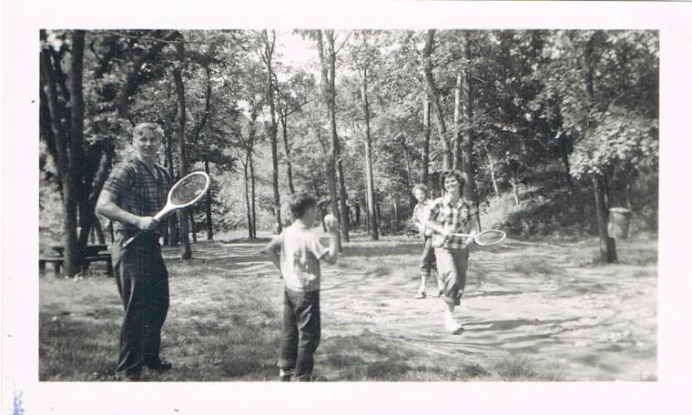 Scenes from everyday life   of my family tell us what they liked to do together. Here, my aunt and uncle are ready for a game of tennis.
