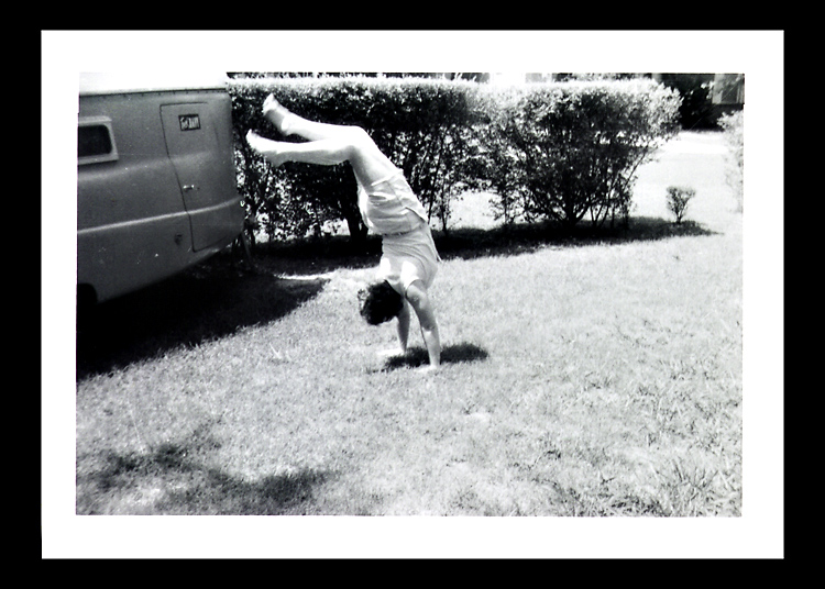 This snapshot of my mother, probably in her early 20s, performing a handstand for the camera is one of my personal favorites.