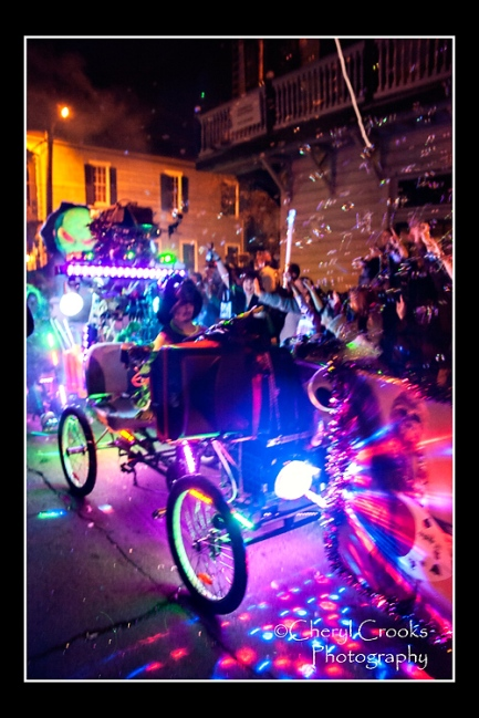 Colored flashing light and lots of bubbles for this pedal-powered float tickled the crowd at the Intergalatic Krewe of Chewbacchus.