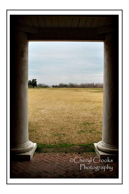 The view from the downstairs porch of the Maltus-Beauregard House to the open field where the battle took place.