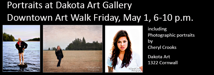 My portraits will be among those featured in a group show at Dakota Art in Bellingham's May Art Walk.