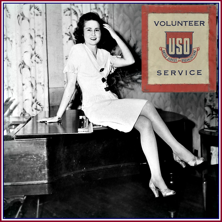 My Mom poses as a USO girl where she was chosen USO queen.