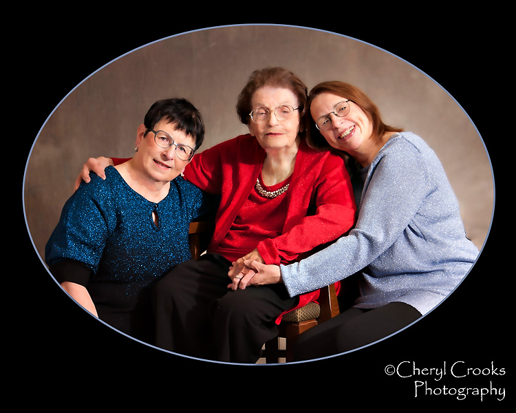 Mary was quite at home with her two daughters during our studio portrait session.