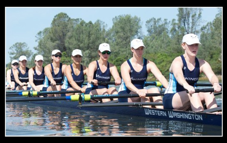 Megan sits second from the right in this photo of WWU's women's varsity eight crew competing at the Pacific Conference Rowing Championships earlier this spring. The photo is taken from the WWU website.
