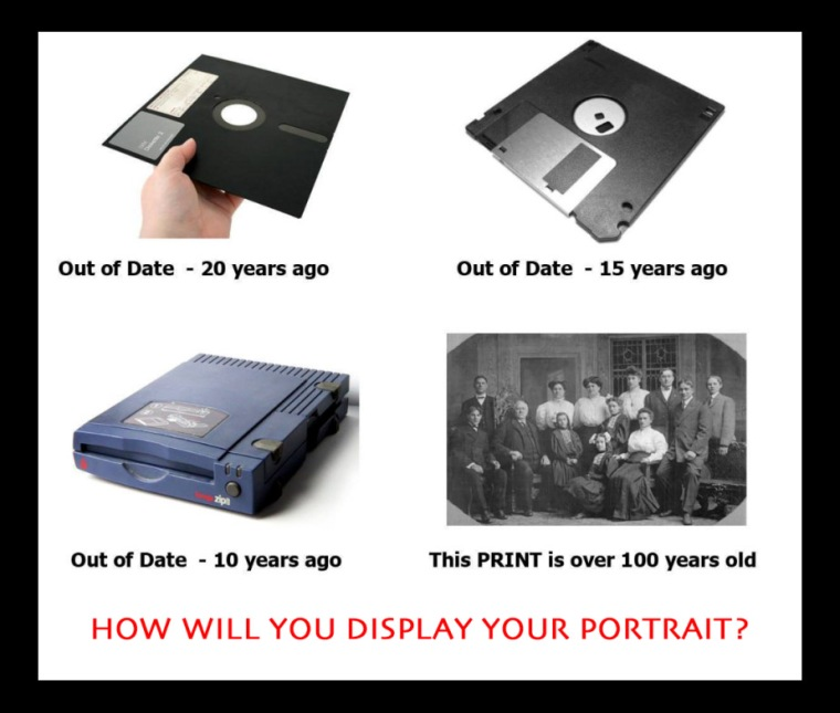 The caption of this image from Photo Central says it all. Make prints of your precious photographs so you'll have them when your technology is outdated.