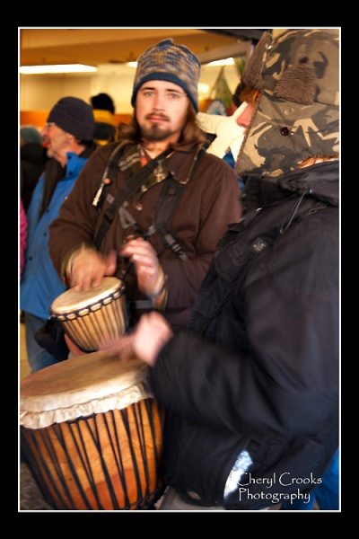 Drummers greeted the marchers as they entered the Salish Sea Marine Sanctuary space for the screening of the Lummi video.