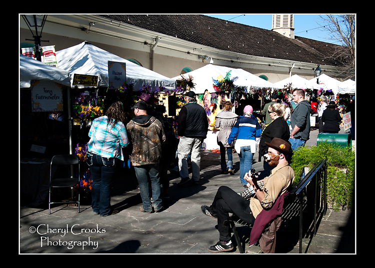 The Mardi Gras Mask Market featured the work of 15 mask artists and drew droves of collecctors and shoppers.