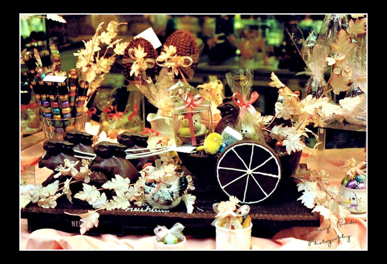 The window of Neuhaus Chocolates was brimming with tempting and tasty treats for Easter.