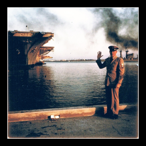 Then: My uncle in uniform waves to us from the dock near his aircraft carrier