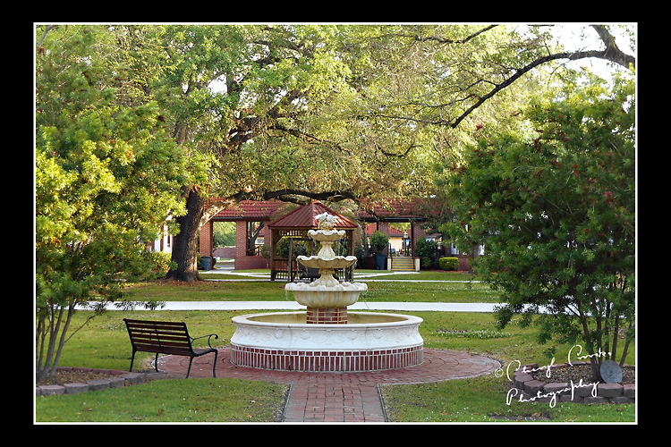 The Quad outside Penney Farm's dining hall is peaceful and inviting.