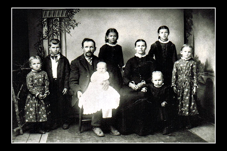 My great grandmother's family from Sweden. My great grandmother is one of the two little girls standing on either end but I can never remember exactly which one she is.