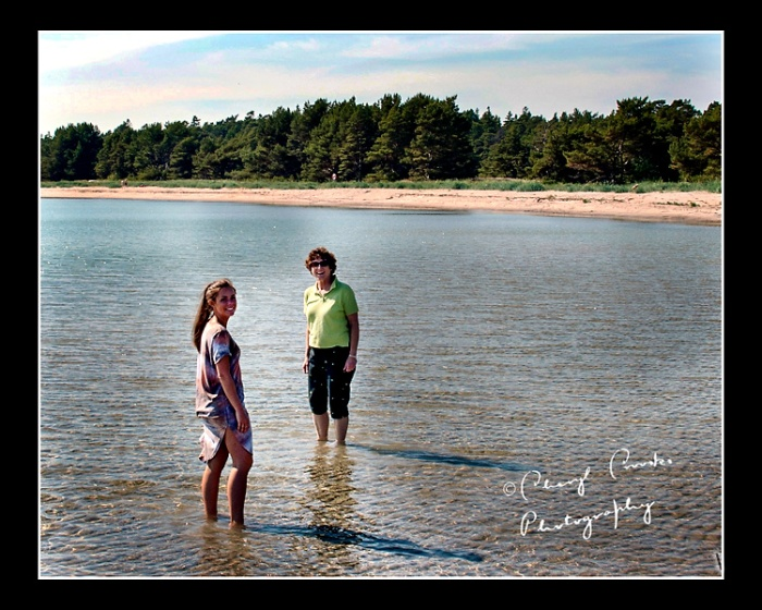 My cousin Sivert's daughter and I cool off in the Baltic Sea. Connecting our children, the next generation, is important to both Sivert and myself.