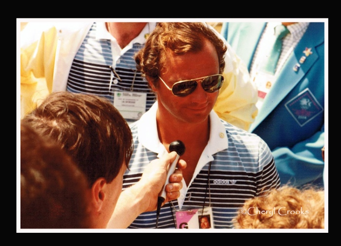 Sweden's king, Carl Gustav is interviewed by members of the press following one of the rowing events at the 1984 Olympics. I was among the media covering those competitions.