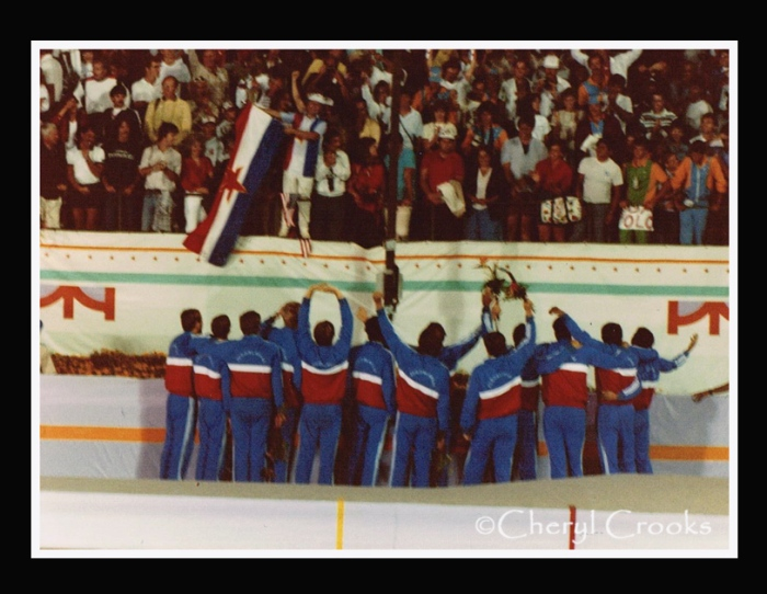 Upon receiving their gold medals, the Yugoslavian water polo team greeted their fans in the stands. Yugoslavia opted not to join the 14 other Eastern bloc countries that boycotted the '84 Olympics.