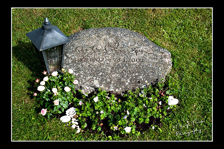 The famous author's grave stone is a simple stone in the Vimmerby cemetery.