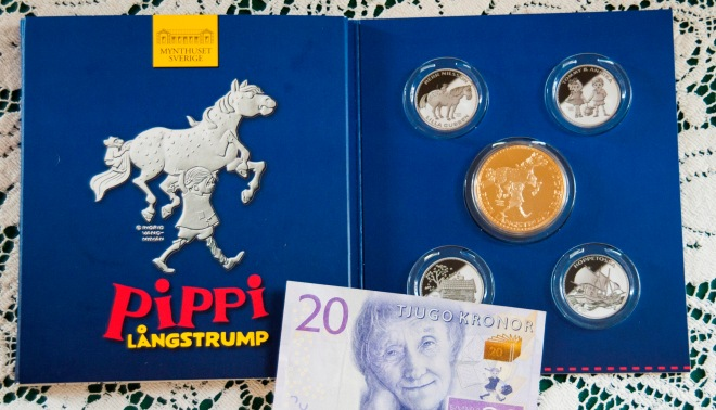 Children's author Lindgren was honored in 2015 when her picture was placed onto the Swedish kronor. There is also a commemorative coin set.