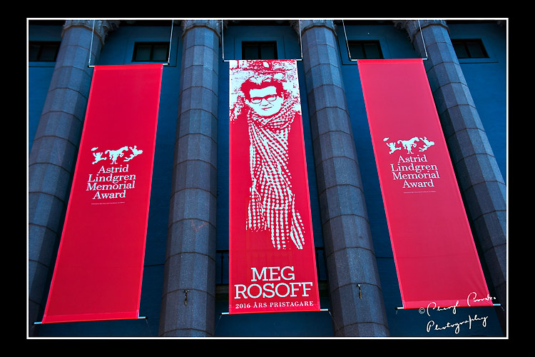 Banners of this year's Astird Lindgren Memorial Aware stream down in Stockolm's Concert Hall.