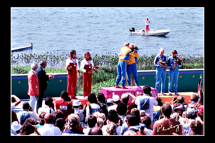 The Swedish women's team give each other a big hug on the podium after receiving their gold medal for the 500 meter kayak doubles. Canada took silver and West Germany the bronze.