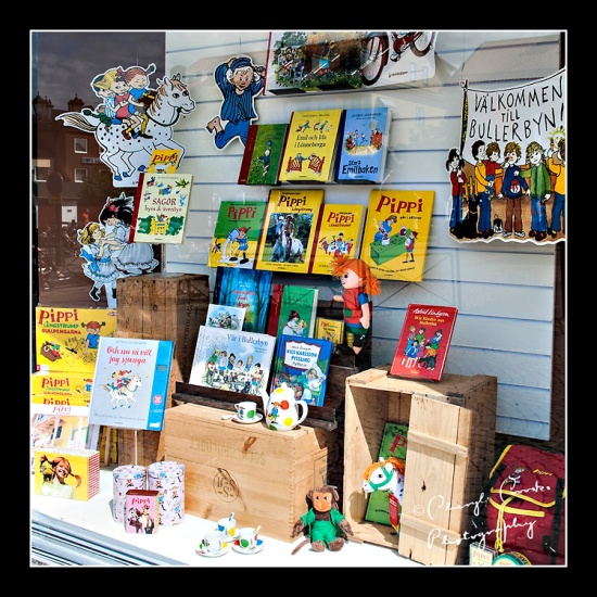 The books of Astrid LIndgren on display here in a shop window in Vimmerby have been translated into 70 languages.