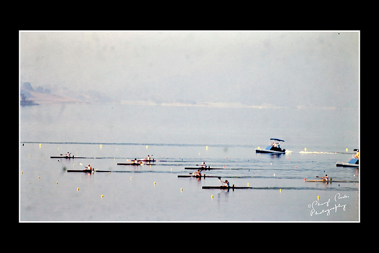 Men compete in the kayak singles on Lake Casitas. The venue was like a 'mini-resort' to the athletes.