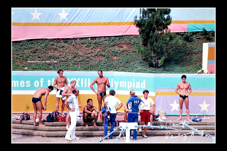 Members of the 1984 U.S. Mens Waterpolo team await their turn in the pool.