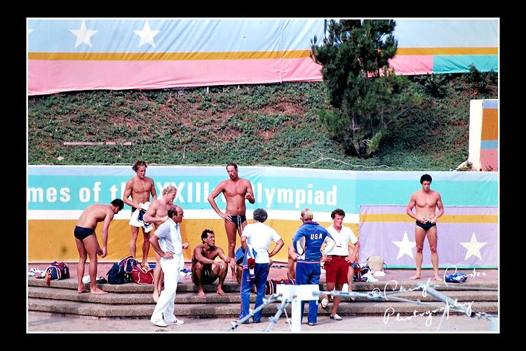 Members of the 1984 U.S. Mens Waterpolo team await their turn in the pool.