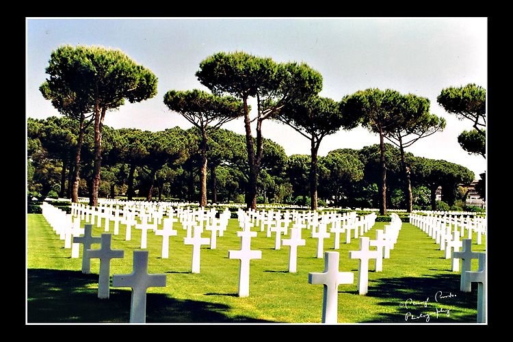 Rows upon rows of white crosses at Anzio mark the graves of Americans who fell during the Italian campaign of World War II.