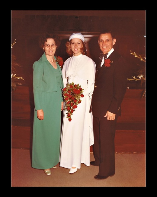 With my parents on my wedding day in the Phoenix church where we both were married.